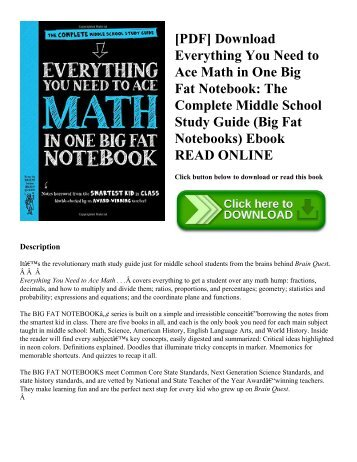 Pdf download everything you need to ace math in one big fat pdf download everything you need to ace math in one big fat notebook the complete middle school study guide big fat notebooks ebook read online fandeluxe Image collections