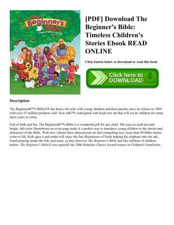 [PDF] Download The Beginner's Bible: Timeless Children's Stories Ebook READ ONLINE