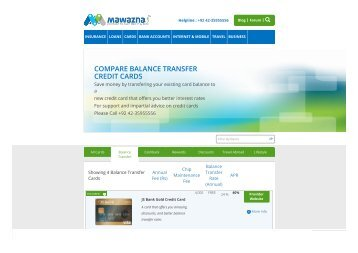 Balance Transfer Credit Cards Pakistan