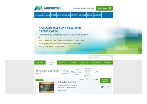 Balance Transfer Credit Cards Pakistan