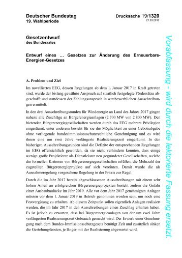 Entwurf eines Gesetzes zur Änderung des EEG