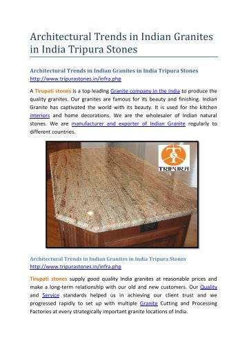 Architectural Trends in Indian Granites in India Tripura Stones