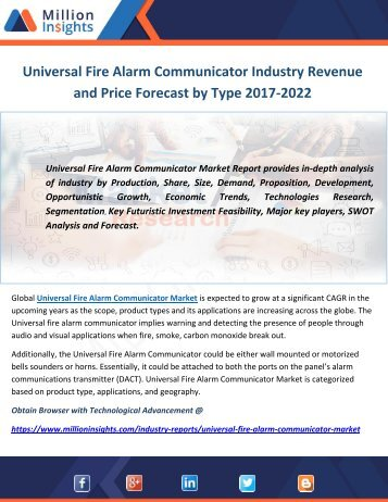 Universal Fire Alarm Communicator Industry Revenue and Price Forecast by Type 2017-2022