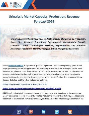 Urinalysis Market Capacity, Production, Revenue Forecast 2022