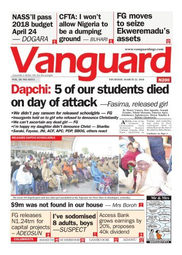 22032018 - Dapchi: 5 of our students died on day of attack —Fasima, released girl