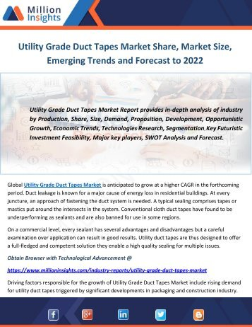 Utility Grade Duct Tapes Market Share, Market Size, Emerging Trends and Forecast to 2022