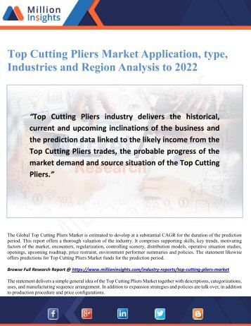 Top Cutting Pliers Market Application, type, Industries and Region Analysis to 2022