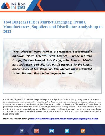 Tool Diagonal Pliers Market Emerging Trends, Manufacturers, Suppliers and Distributor Analysis up to 2022