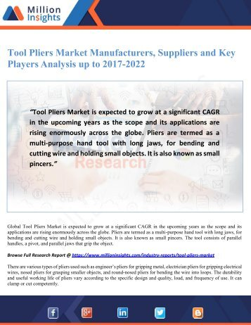 Tool Pliers Market Manufacturers, Suppliers and Key Players Analysis up to 2017-2022