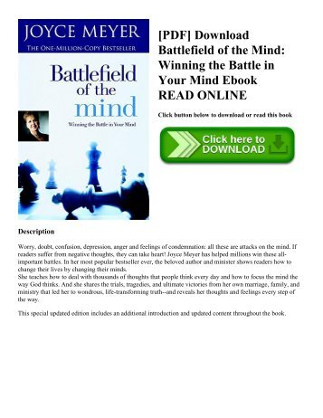 [PDF] Download Battlefield of the Mind: Winning the Battle in Your Mind Ebook READ ONLINE
