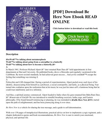 [PDF] Download Be Here Now Ebook READ ONLINE
