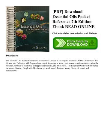 [PDF] Download Essential Oils Pocket Reference 7th Edition Ebook READ ONLINE