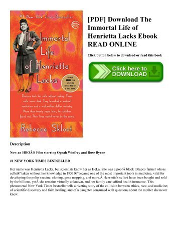 [PDF] Download The Immortal Life of Henrietta Lacks Ebook READ ONLINE