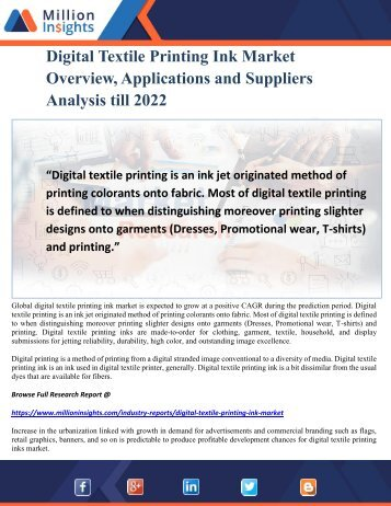 Digital Textile Printing Ink Market Overview, Applications and Suppliers Analysis till 2022
