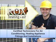 Certified Technicians For Air Conditioning, Heating Appliance Fittings And Installations