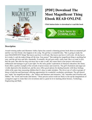 [PDF] Download The Most Magnificent Thing Ebook READ ONLINE