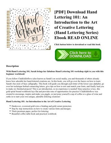 [PDF] Download Hand Lettering 101: An Introduction to the Art of Creative Lettering (Hand Lettering Series) Ebook READ ONLINE
