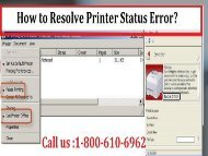 Call 1-800-213-8289 to Resolve Printer Status Error