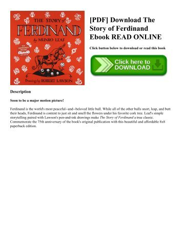 [PDF] Download The Story of Ferdinand Ebook READ ONLINE