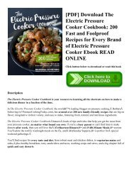 [PDF] Download The Electric Pressure Cooker Cookbook: 200 Fast and Foolproof Recipes for Every Brand of Electric Pressure Cooker Ebook READ ONLINE