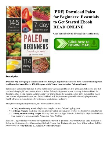 [PDF] Download Paleo for Beginners: Essentials to Get Started Ebook READ ONLINE
