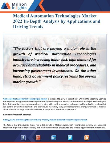 Medical automation technologies Market 2022 Major Trends, Analysis and Outlook