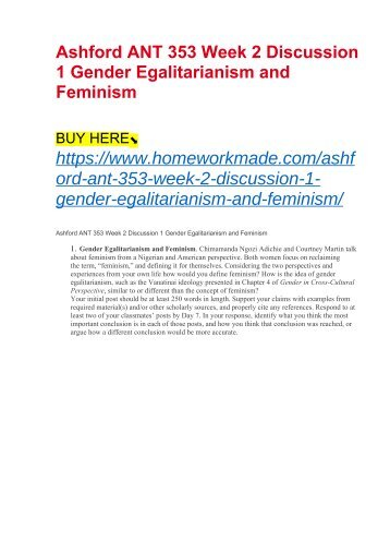 Ashford ANT 353 Week 2 Discussion 1 Gender Egalitarianism and Feminism