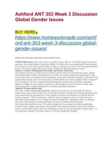 Ashford ANT 353 Week 3 Discussion Global Gender Issues