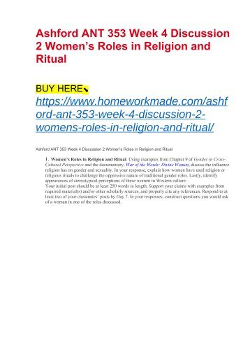 Ashford ANT 353 Week 4 Discussion 2 Women's Roles in Religion and Ritual