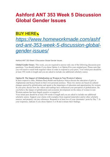 Ashford ANT 353 Week 5 Discussion Global Gender Issues