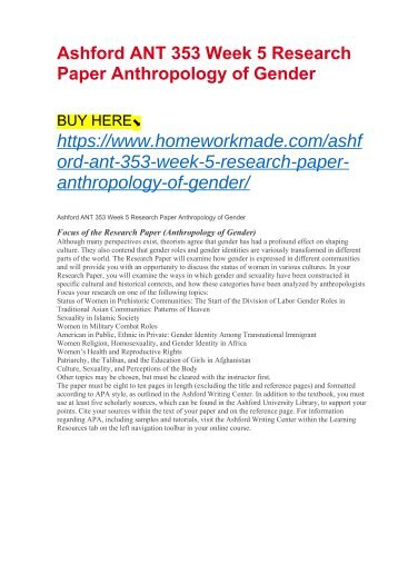 Ashford ANT 353 Week 5 Research Paper Anthropology of Gender