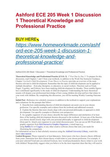 Ashford ECE 205 Week 1 Discussion 1 Theoretical Knowledge and Professional Practice