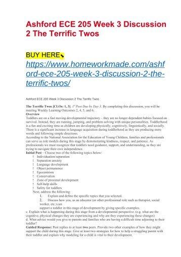 Ashford ECE 205 Week 3 Discussion 2 The Terrific Twos