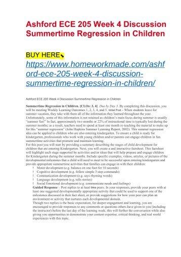 Ashford ECE 205 Week 4 Discussion Summertime Regression in Children