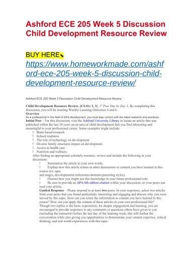 Ashford ECE 205 Week 5 Discussion Child Development Resource Review