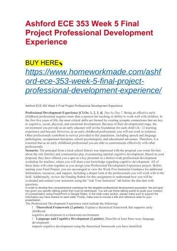 Ashford ECE 353 Week 5 Final Project Professional Development Experience