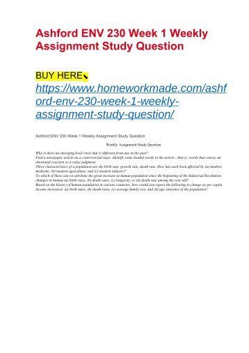 Ashford ENV 230 Week 1 Weekly Assignment Study Question