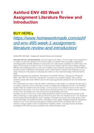 Ashford ENV 495 Week 1 Assignment Literature Review and Introduction