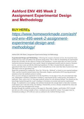 Ashford ENV 495 Week 2 Assignment Experimental Design and Methodology