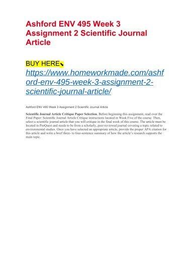 Ashford ENV 495 Week 3 Assignment 2 Scientific Journal Article