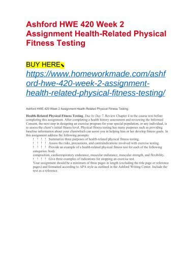 Ashford HWE 420 Week 2 Assignment Health-Related Physical Fitness Testing