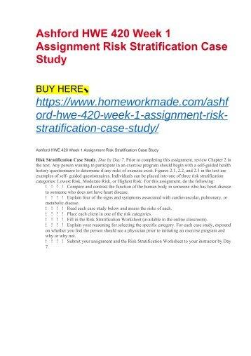 Ashford HWE 420 Week 1 Assignment Risk Stratification Case Study