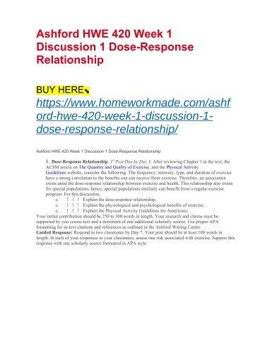 Ashford HWE 420 Week 1 Discussion 1 Dose-Response Relationship