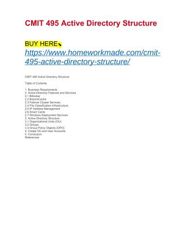 CMIT 495 Active Directory Structure