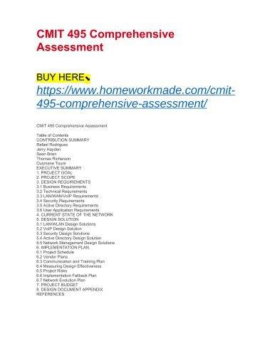 CMIT 495 Comprehensive Assessment