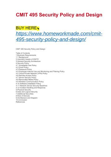 CMIT 495 Security Policy and Design