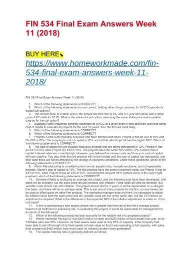 FIN 534 Final Exam Answers Week 11 (2018)