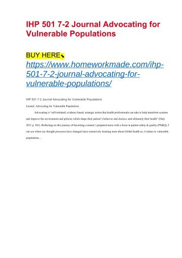 IHP 501 7-2 Journal Advocating for Vulnerable Populations