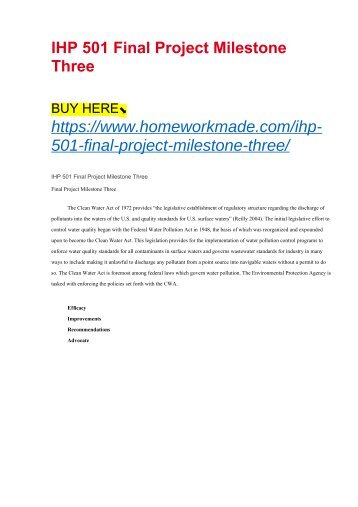 IHP 501 Final Project Milestone Three