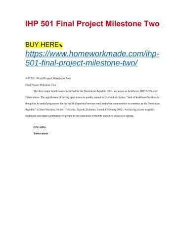 IHP 501 Final Project Milestone Two